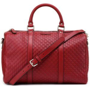 Gucci Red Leather Micro GG Boston Satchel Travel